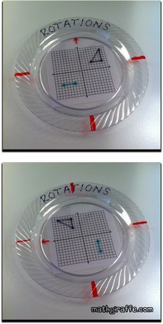 Plastic Plate Math Activities - How to Make & Use Rotations on the Coordinate Plane - layered plate activity Teaching Geometry, Geometry Activities, Teaching Math, Math Activities, Math Games, Math Resources, 8th Grade Math Worksheets, 7th Grade Math, Ninth Grade