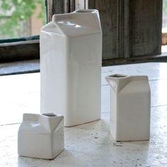 Creamware Milk Cartons, Set of 3
