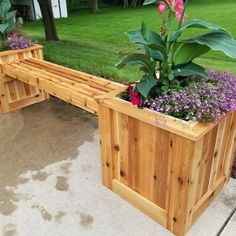 This was a project my two boys and I made for my wife for Mothers day. 100 percent of it is made from read cedar. my sons and I work many evenings and weekends to complete this project. This planter bench will be enjoyed for many years to come. Deck Planter Boxes, Deck Planters, Planter Bench, Cedar Planter Box, Diy Planter Box, Wooden Planters, Garden Boxes, Pergola Planter, Cedar Bench