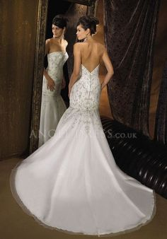 Mermaid Sweetheart Floor Length Natural Waist Tulle With Beading Bridal Gown