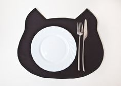 Placemat black Cat Fabric placemat by JuliaWine on Etsy, $17.00 . #Cat Lovers Join > http://OzziCat.com.au