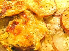 Best Ever Scalloped Potatoes. TRULY!!! I sliced enough potatoes to fill a 13x9 3/4 full. Made the sauce x2 and added some extra milk and some wylers chicken boullion granules. Used fresh thyme...about 2 T. Ultimate comfort food. So addicting too. will make again. I baked covered for 1.5-2 hrs then uncovered. PERFECT!!!!!