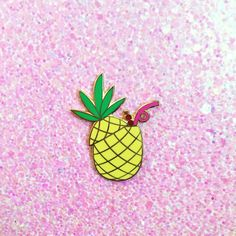 "Pineapple pina colda hard enamel lapel pin. Smooth hard enamel with gold trim. Comes with a soft rubber pin back.Pin this to your favorite jacket, bag, sweater, etcMeasures 1.5"" tall"