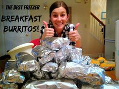 FREEZER BREAKFAST BURRITOS!! This recipe is so yummy, and it makes A TON!
