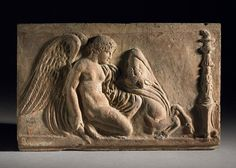 Terracotta Campana relief with Victory sacrificing a bull.      Roman -       1stC(late) BC-1stC (early)