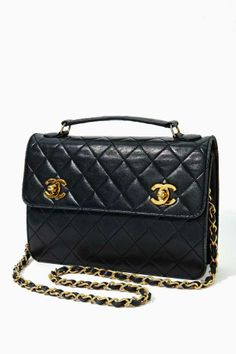 Vintage Chanel Quilted Black Leather Satchel