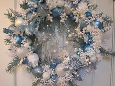 Light Blue and White Heirloom Christmas Wreath, Ornament Wreath, Holiday Wreath. My colors, I need to make this