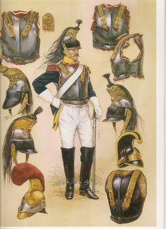 Top helmets and breast plates and central figure, French Cuirassiers, bottom right helmet and breast plate, Austrian Cuirassiers.
