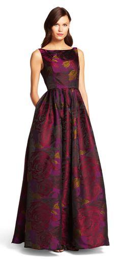 Sleeveless Floral Ball Gown with Full Skirt Designer Evening Gowns, Designer Dresses, Evening Dresses, Mob Dresses, Fashion Dresses, Bridesmaid Dresses, Burgundy Bridesmaid, Church Dresses, Maxi Outfits