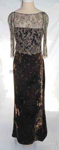 Badgley Mischka Ballgown NOS Deadstock Panne Velvet Evening Dress Net Overlay 4 #BadgleyMischka #BallGown #Formal