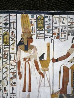 Egypt, Thebes (UNESCO World Heritage List, 1979) - Luxor - Valley of the Queens. Tomb of Nefertari. Annex to antechamber. Mural paintings. Queen before divine scribe Thoth (Dynasty 19, Ramses II, 1290-1224 BC) (QV66 - 333359)