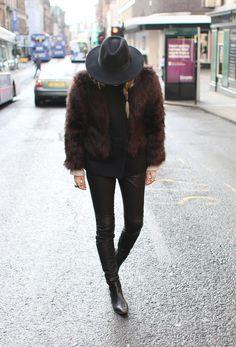 Hat H&M Fake fur Filippa K Knit Mango Leather pants SET Boots Zara