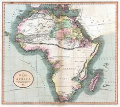 Mountains of Kong, a non-existent mountain range charted on maps of Africa until the late 19th century, which prevented colonization efforts of Mid- and Southern Africa. Date of map above: 1805,...
