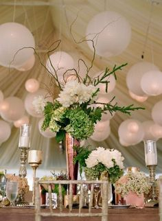 reception in tent -ceiling decor and centrepiece