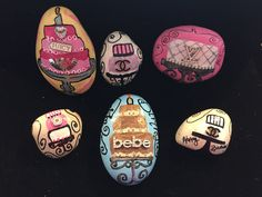 Painted rock Chanel Bebe Louis Vuitton Juicy Couture