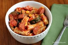 Zucchini Kielbasa Pasta, perfect for summer dinners Sausage Recipes For Dinner, Easy Dinner Recipes, Pasta Recipes, Dinner Ideas, Easy Meals, Italian Recipes, New Recipes, Favorite Recipes, Healthy Recipes