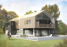 Penmere House, AR Design Studio, Photoshop Render, New Build, Family Home… Modern Barn House, Modern House Plans, Modern House Design, Classic Architecture, Architecture Design, House Plans Uk, Hampshire, New Housing Developments, Timber Cladding