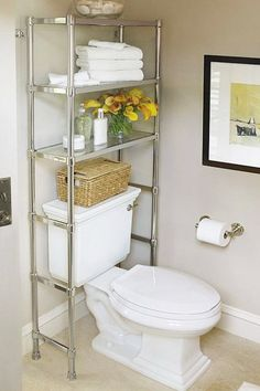 20 bathroom storage over toilet organization ideas. You have a small bathroom and you don't have idea how to design it? A small bathroom can look great and be fully functional as the large bathrooms. Over The Toilet Cabinet, Bathroom Storage Over Toilet, Shelves Over Toilet, Bathroom Storage Solutions, Diy Bathroom, Small Bathroom Organization, Bath Storage, Storage Spaces, Organization Ideas