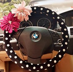 Car Steering wheel cover-Polka Dots with Chiffon Flower #B, Unique Automobile Accessories, Car Decor, Automobile Wheel cover, Valentine Gift