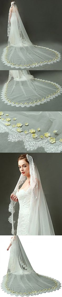 Newdeve 3.5M 1T White Ivory Cathedral Bridal Veils with Yellow Flowers (White)