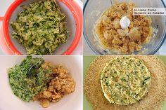 Veggie burguer! 1 calabacín grande de unos 300 g, 250 g de garbanzos cocidos, 1 huevo L, 1/2 cebolla, 100 g de harina, 1 cucharada de maizena, 50-60 g de pan rallado, sal, pimienta negra, orégano, tomillo, ajo granulado, una guindilla pequeña.