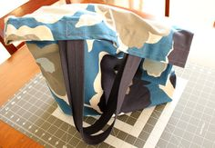 Blue Floral Canvas Tote  Reusable Shopping Tote by MGardeski