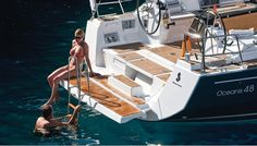 Beneteau Oceanis 48 swim platform. The new style electric controlled platform is available on the OC41, 45, 48 www.MurrayYachtSales.com