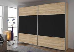 Schrank Quadra 181,0 cm Eiche Sonoma Schwarz 8574. Buy now at https://www.moebel-wohnbar.de/schwebetuerenschrank-quadra-181-0-cm-eiche-sonoma-mit-glas-schwarz-8574.html