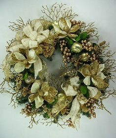 Elegant Ivory Gold Christmas Wreath by Ed The Wreath Guy