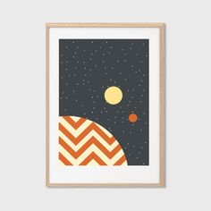 Tatooine Star Wars Planet Poster : Modern Illustration Retro Art Wall Decor Print A4 8 x 11