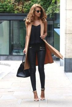 tan long vest with black outfit- How to wear long vests http://www.justtrendygirls.com/how-to-wear-long-vests/