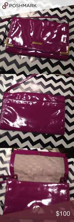 Fuchsia MK envelope clutch or shoulder bag! My favorite bag - it's so awesome - I bought in 3 colors! MK Fuchia patent leather Envelope bag! Detachable strap! Pristine condition. Perfect sized shoulder or clutch - not too big or too small. This one has gold accents. Measures 11 x 7.5....can't believe I'm letting these bags go - but it's your lucky day! 😀 cause I need new flooring in my house! 👍🏻 Michael Kors Bags Clutches & Wristlets