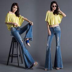 56.91$  Buy now - http://aliybm.worldwells.pw/go.php?t=32748977668 - Autumn European Ladies Fashion Hole Flared Jeans Female Elastic Burr Big Horn Wide Leg Pants Slim Trousers K48  56.91$