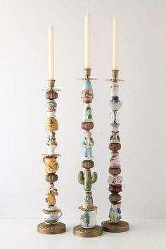 Tutorial to make these Anthropologie candlesticks.