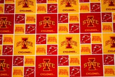 Iowa State Cyclones Fabric, NCAA College Fabrics, Iowa State Fabrics,  7/8 Yard Continuous Piece, Sykel #ISU006 by HandmadebyShelia on Etsy