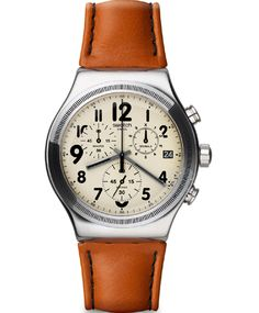 OROLOI.gr - ΡΟΛΟΓΙΑ SWATCH - SWATCH Irony Chrono Leblon Brown Leather Strap