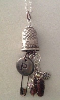 Vintage Thimble Necklace with Bicycle And by ThePolishedNeck