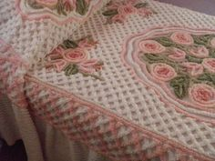 Vintage chenille blankets. My grandmother had these on our beds at our bungalow in Mastic Beach, NY. I still love chenille!