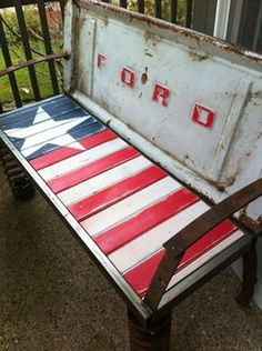 ford American flag bumper repurposed truck bed bench!