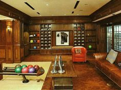 Custom design residential bowling alley by US Bowling Corporation.