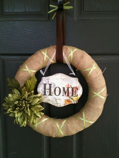 Burlap Wreath with Home Sign and Celadon by PolkadotsOriginals,