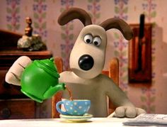 "Gromit and his tea. Who is Gromit? He is the anthopomorphic dog in ""Wallace and Gromit"" - a British stop-motion comedy animation series. Timmy Time, Tea Quotes, Shaun The Sheep, Cuppa Tea, Snoopy, My Cup Of Tea, Stop Motion, High Tea, Drinking Tea"