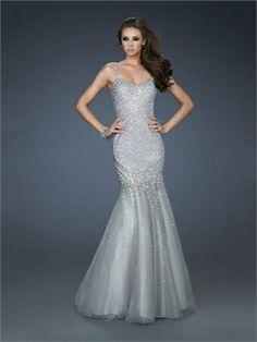 Mermaid Spaghetti Straps V-neck Beaded Floor Length Organza Prom Dress PD11331 www.dresseshouse.co.uk $159.0000