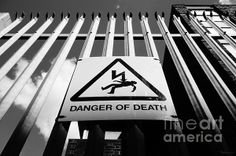"""Danger of Death 1 - Shock Tactics"" Black & White Photograph ©2014 Pete Edmunds. #sign #highvoltage #danger #shock #electricity #death #horror #voltage #current #electric #warning"