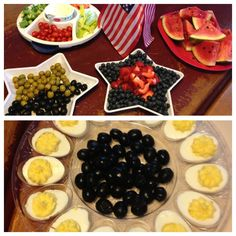 Festive 4th of July food. Star trays and egg platter found at Dollar Tree. Yay!