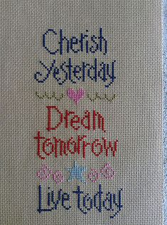 completed cross stitch Lizzie Kate Cherish Dream Live