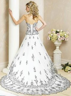 80% OFF Breathtaking Scoop Lace White and Black Beads Working Satin Bridal Frock In Uk