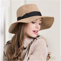 Khaki bow floppy hat for women wide brim fedora hats wool fabric