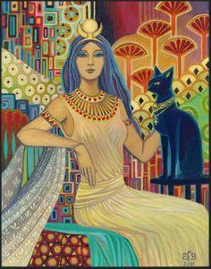 Bast chat égyptien déesse Art déco Bohème 11 x 14 imprimer