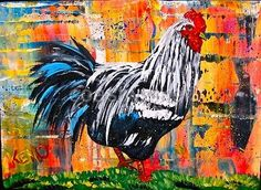 outsider blues  art | Iowa Blue Rooster Chicken Painting Maine Outsider Folk Art ... | Craf ...